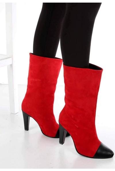 Mosimoso Fiorella Kırmızı Süet Siyah Cilt Burun İnce Topuk Kadın Çizme