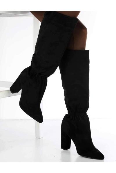 Mosimoso Dante Siyah Süet Sivri Burun Topuklu Kadın Çizme