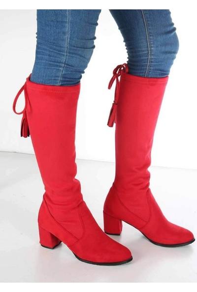 Mosimoso Cassy Kırmızı Süet Püskül Detaylı Topuklu Kadın Çizme