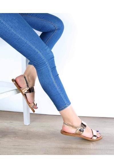 Mosimoso Bakır Ayna Jurdan Taban Topuk Bağlı Kadın Sandalet