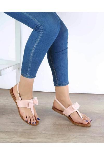 Mosimoso Pudra Cilt Parmak Arası Fiyonk Detaylı Kadın Sandalet
