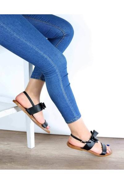 Mosimoso Siyah Cilt Jurdan Taban Fiyonk Detaylı Kadın Sandalet