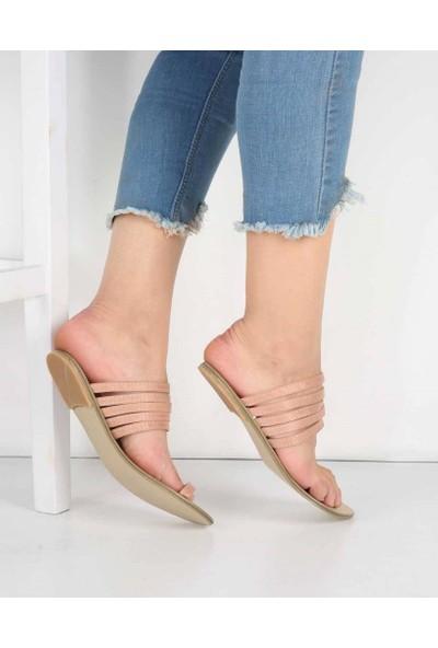 Mosimoso Pudra Yüzük Tasarım Parça Bant Tasarım Kadın Sandalet