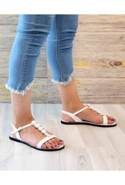 Mosimoso Jemma Beyaz Cilt Boncuk Detay Kadın Sandalet
