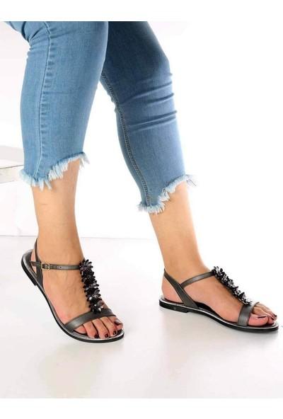 Mosimoso Lanze Platin Cilt Çiçek Detaylı Kadın Sandalet