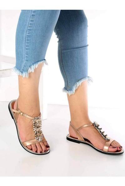 Mosimoso Lanze Altın Cilt Çiçek Detaylı Kadın Sandalet