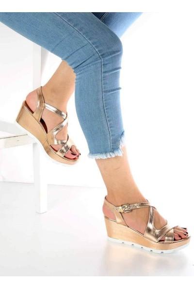 Mosimoso Flora Altın Cilt Dolgu Topuk Kadın Sandalet