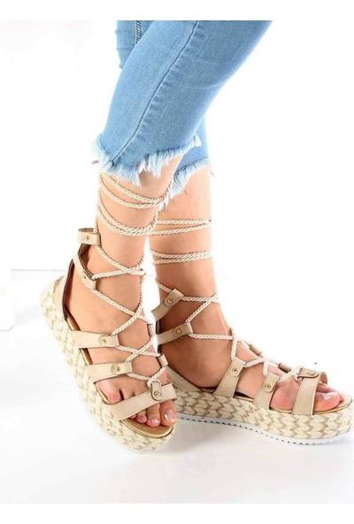 Mosimoso Caprina Ten Süet Hasır Taban Kadın Sandalet