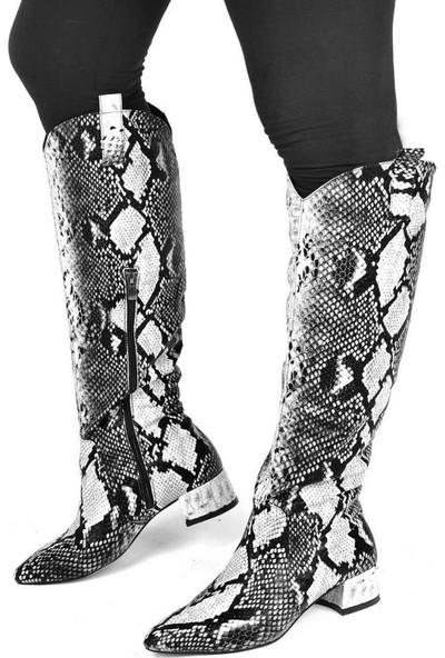 Mosimoso Siyah Beyaz Yılan Desenli Kadın Çizme