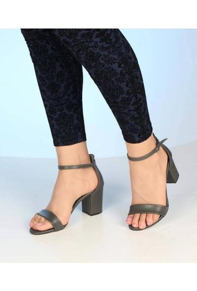 Mosimoso Gri Cilt Bilek Bağlı Topuklu Kadın Sandalet