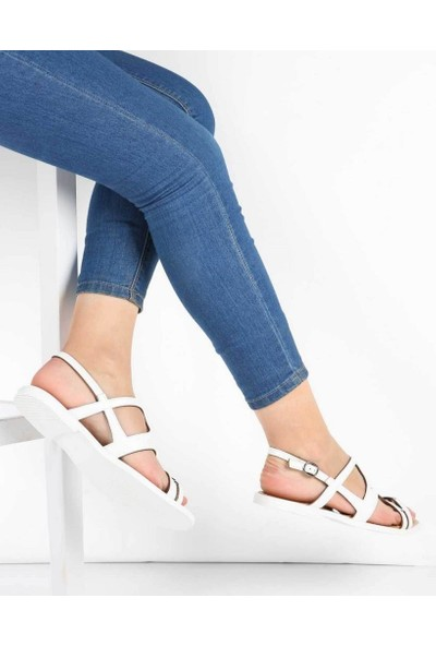 Mosimoso Beyaz Cilt Desenli Kesim Bilek Bağlı Kadın Sandalet