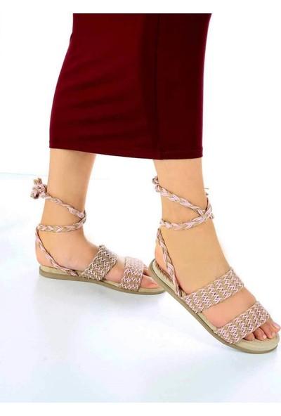 Mosimoso Benny Pudra Bej Kilim Desen Kadın Sandalet