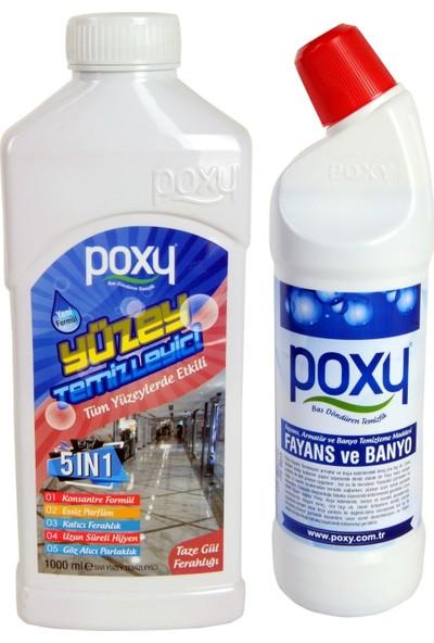 Poxy Yüzey Temizleyici 5 In 1-Taze Gül Ferahlığı & Fayans ve Banyo 1 lt Set - 2 lt