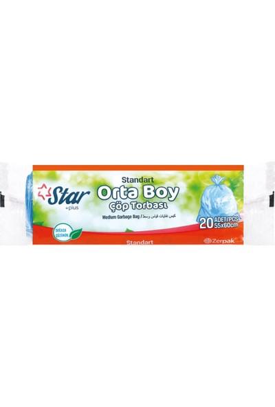 Star Plus Çöp Torbası Orta Boy 55X60 cm Mavi 1 Koli = 50 Rulo Paket
