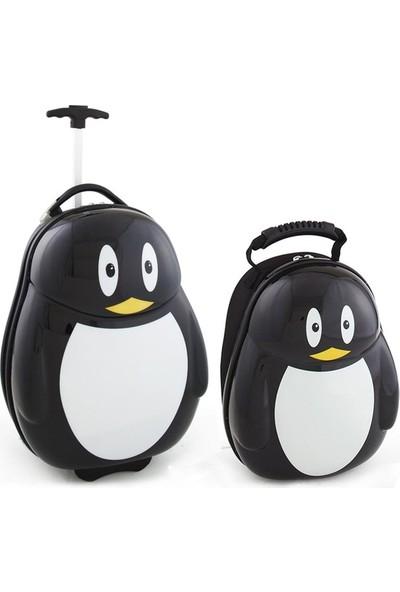 Çocuk Valiz Seti Penguen Valiz 2'li Ürün Darbeye Dayanıklı Çocuk Bavul Çocuk Seyahat Çantası