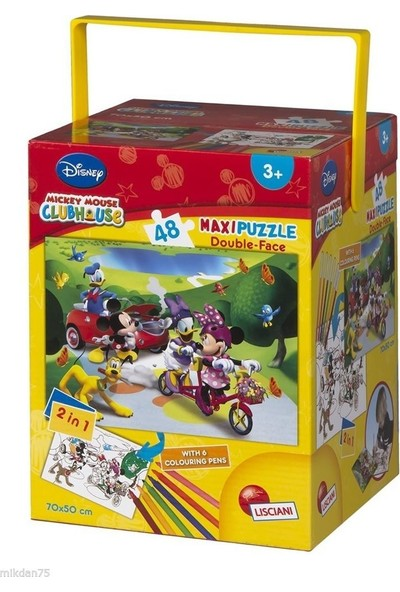 Disney Mickey Mouse Maxi Puzzle Double-Face 2in1 48 Prç Boyama Kalemli