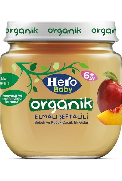 Hero Baby Organik Elma Şeftali 120 gr (6 Adet)