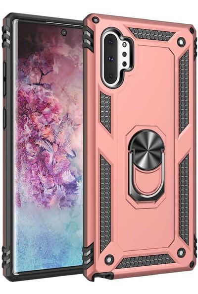 Tekno Grup Samsung Galaxy Note 10 Plus Kılıf Yüzüklü Standlı Ultra Korumalı Manyetik Vega Kapak-Rose + Tam Kaplayan 6D Nano Ekran Koruyucu