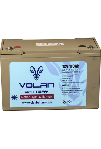 Volan Battery 12 Volt 110 Ah (Amper) Marin Jel Akü