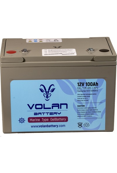 Volan Battery 12 Volt 100 Ah (Amper) Marin Jel Akü