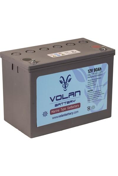 Volan Battery 12 Volt 90 Ah (Amper) Marin Jel Akü