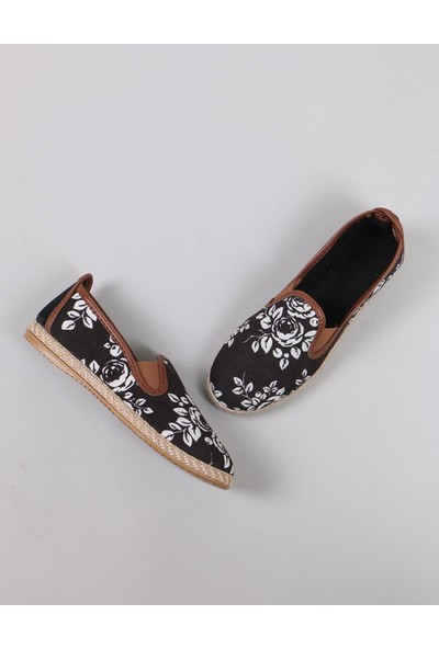 Ventiquattro Çiçek Desenli Hasır Espadril Kadın Ayakkabı