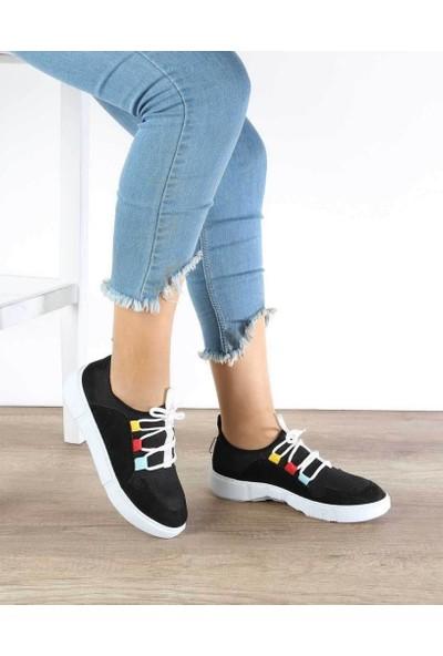Mosimoso Siyah Süet Bağcıklı Poli Taban Kadın Spor Ayakkabı