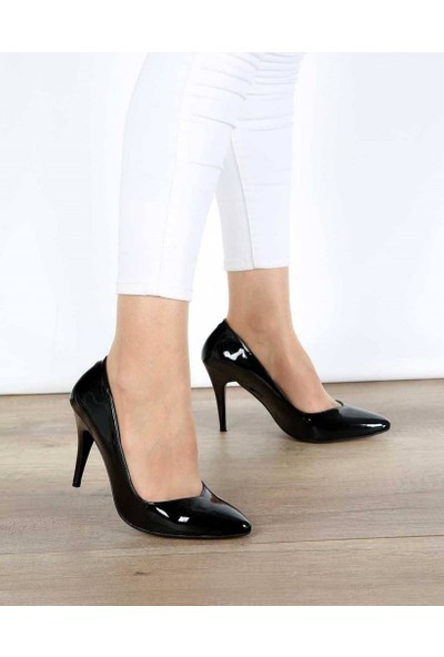 Mosimoso Siyah Rugan İnce Topuk Kadın Stiletto