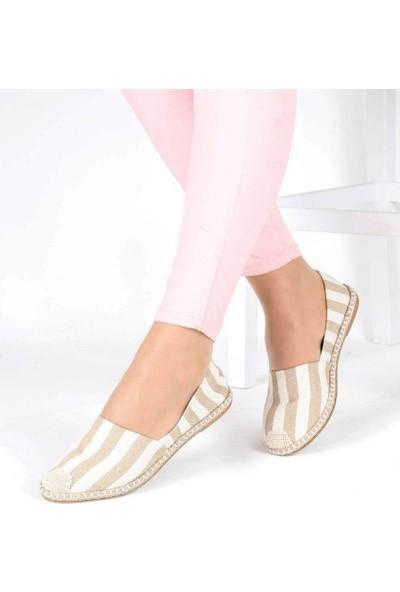 Mosimoso Bej Çizgili Hasır Kenar Espadril Kadın Ayakkabı