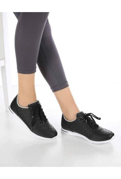 Mosimoso Alanzo Siyah Gümüş Baklava Desen Bağcılık Kadın Spor Ayakkabı