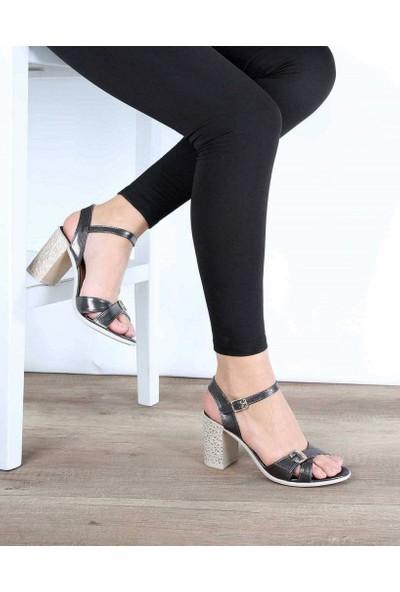 Mosimoso Platin Renk Bilek Bağlı Desenli Topuk Kadın Ayakkabı