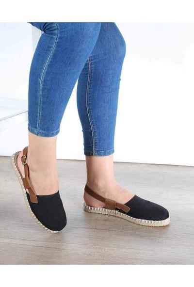 Mosimoso Siyah Taba Açık Topuk Espadril Kadın Ayakkabı