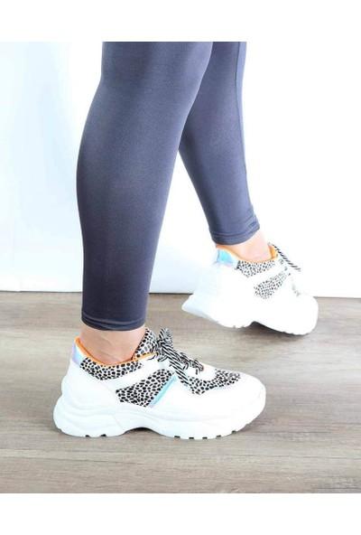 Mosimoso Beyaz Turuncu Leopar Desenli Bağcıklı Kadın Spor Ayakkabı