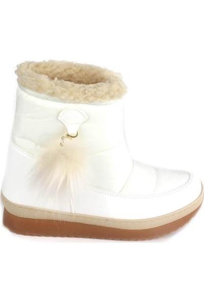 Mosimoso Beyaz Paraşüt Ponponlu Kadın Bot
