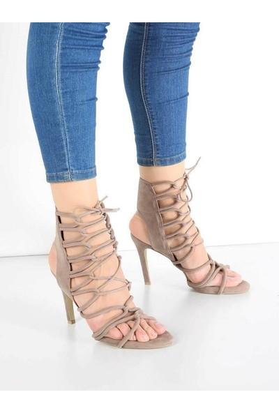 Mosimoso Vizon Süet Sarma Bağcık İnce Topuk Kadın Ayakkabı