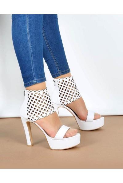 Mosimoso Beyaz Cilt Lazer Kesim Bilek Bağlı Kadın Ayakkabı