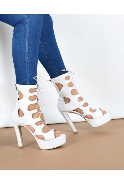 Mosimoso Beyaz Rugan Lazer Kesim Desenli Fermuarlı Kadın Ayakkabı