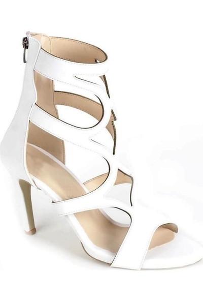 Mosimoso Beyaz Cilt Desenli Kesim Sırt Fermuarlı Kadın Ayakkabı