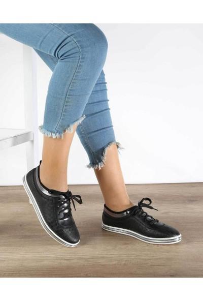 Mosimoso Siyah Cilt Yazılı Bağcık Kadın Spor Ayakkabı