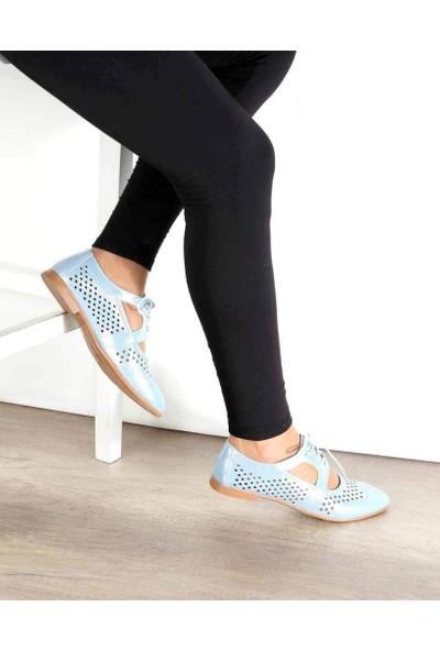 Mosimoso Mavi Renk Lazer Kesim Pencere Detaylı Kadın Ayakkabı