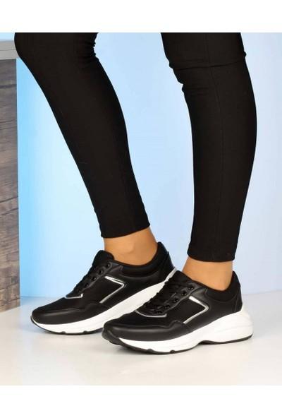 Mosimoso Siyah Cilt Gümüş Çizgili Yüksek Taban Kadın Spor Ayakkabı