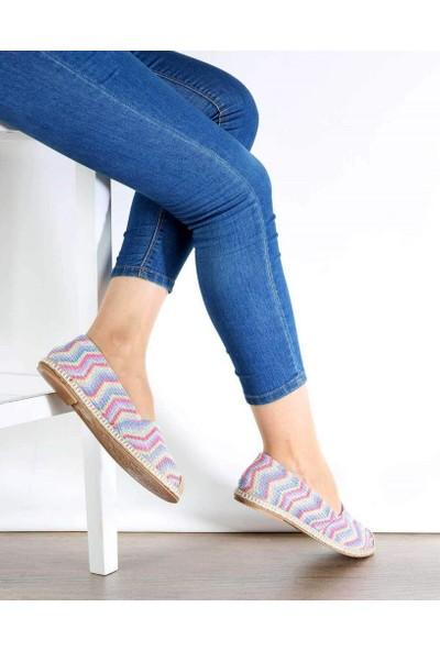 Mosimoso Gökkuşağı Zigzag Desen Espadril Kadın Ayakkabı