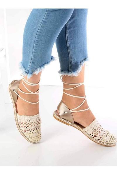 Mosimoso Silvia Bej Dantel Desen Espadril Kadın Ayakkabı