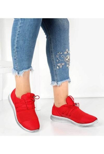 Mosimoso Kırmızı Anorak Lastikli Bağcık Kadın Spor Ayakkabı