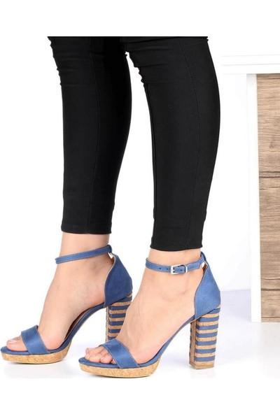 Mosimoso Kot Süet Mantar Taban Bilek Bağlı Topuklu Kadın Ayakkabı