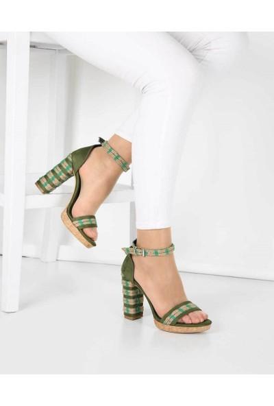 Mosimoso Haki Süet Hasır Topuk Bilek Bağlı Kadın Ayakkabı