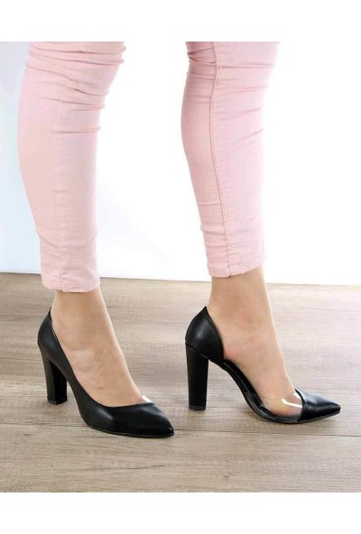 Mosimoso Juliette Siyah Cilt Şeffaf Kenar Topuklu Kadın Ayakkabı