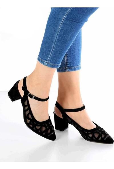 Mosimoso Siyah Süet Desenli Bilek Bağlı Kısa Topuk Kadın Ayakkabı