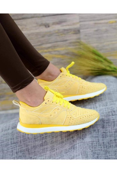 Mosimoso Zumba Sarı Süet Lazer Kesim Bağcıklı Spor Kadın Ayakkabı