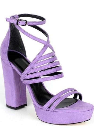 Mosimoso Lila Süet Çapraz Bilek Bağlı Kadın Ayakkabı